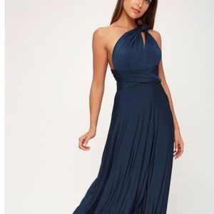 Convertible navy maxi dress